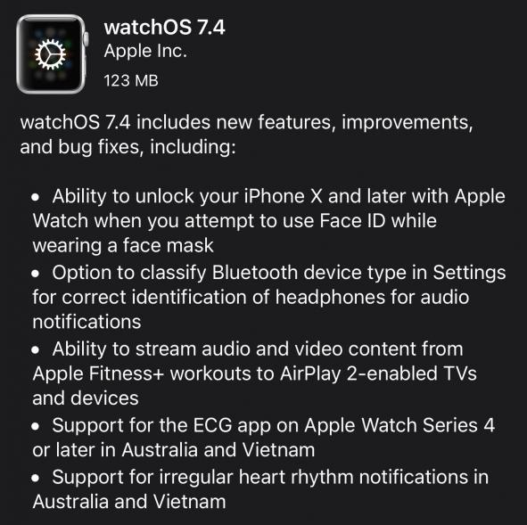 watchOS 7.4 Features