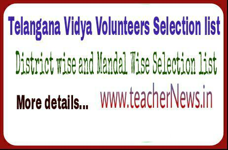Telangana / TS Vidya Volunteers District wise / Mandal Wise Vacancies, Selection Lists / merit list