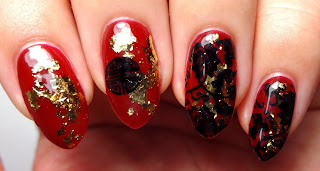 Red Chinese Stamped Nails