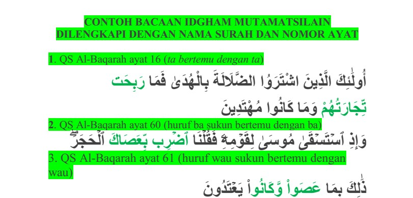 Contoh Bacaan Idgham Mutamatsilain Dilengkapi dengan Nama Surah dan Nomor Ayat