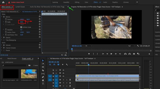 cara Mengatasi Video Tidak Full Screen Dengan Scale di adobe premiere
