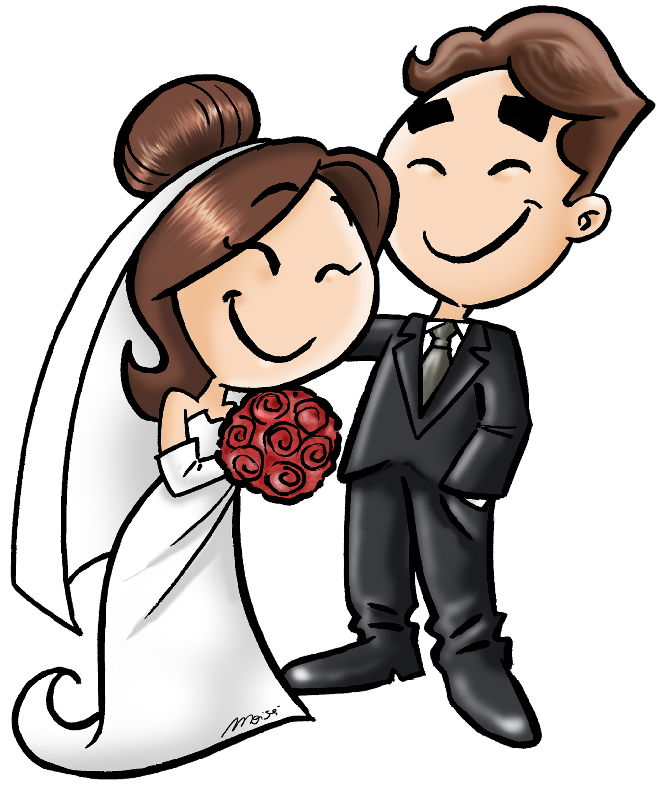Imagem Casal Png ~ Dikas da Kika Convite de casamento com desenho de noivinhos