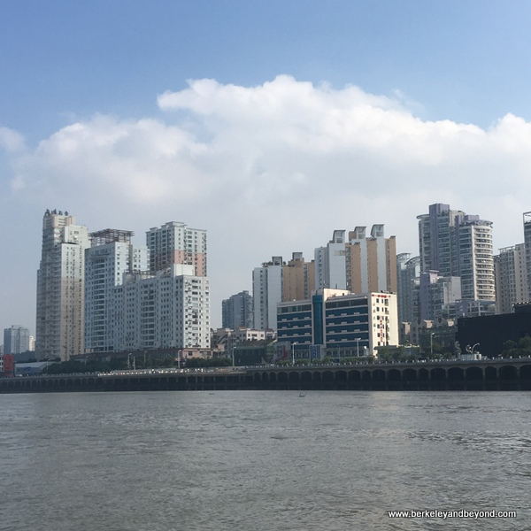 Wenzhou skyline from Ou River in Wenzhou, China