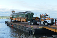 Parlor car 1799 loaded on barge just off coast of Whidbey Island on April 30, 2018.