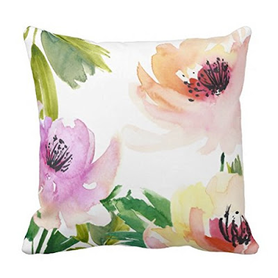 Floral Watercolor Print Pillow - $13.99 Springtime Bohemian Home Decor {Pastel Bohemian, Springtime Boho Home Decorations, Bohemian Easter}