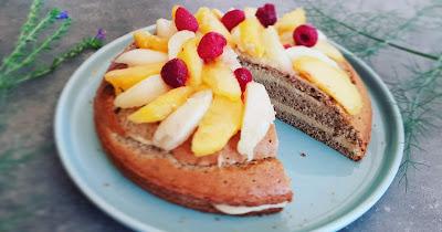 Gâteau coco et fruits frais_sans gluten_sans lactose