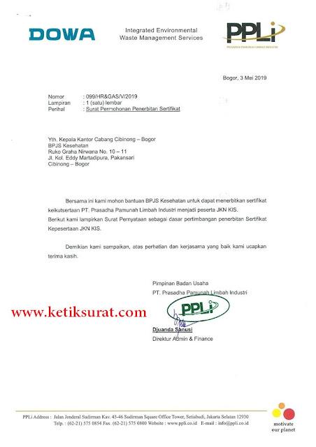 surat permohonan penerbitan sertifikat bpjs