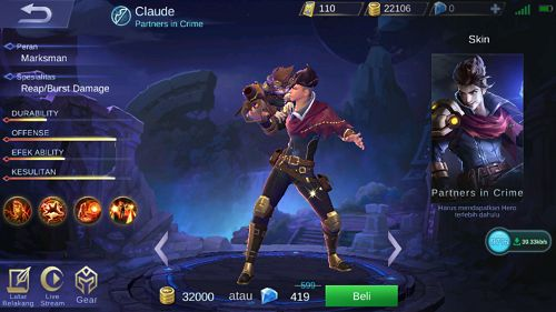 Hero Claude Mobile Legend Partners In Crime