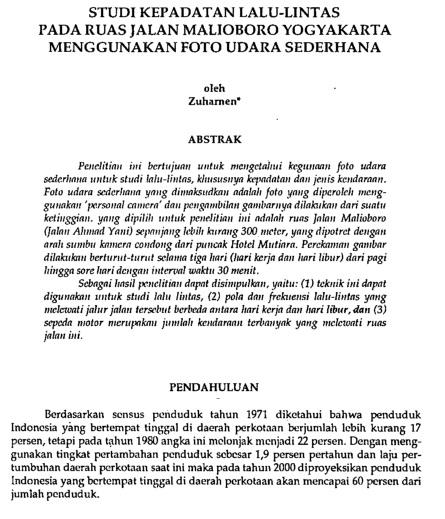 Studi Kepadatan Lalu-Lintas Pada Ruas Jalan Malioboro Yogyakarta Menggunakan Foto Udara [Paper]