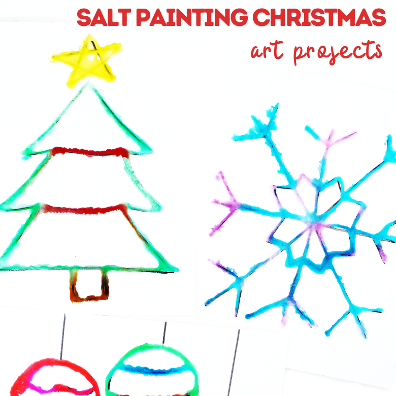 Raised salt painting Christmas art project for kids
