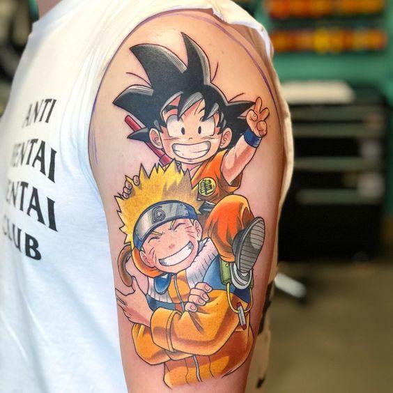 Goku and naruto tattoo on sleeve