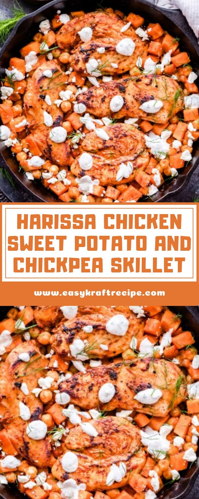 HARISSA CHICKEN SWEET POTATO AND CHICKPEA SKILLET
