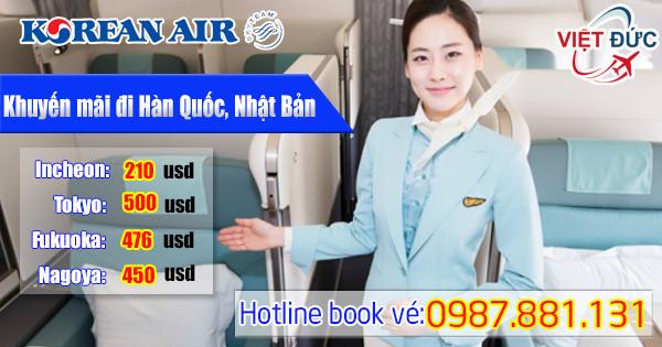 khuyến mãi đi Hàn Quốc, Nhật Bản hãng Korean Air giá từ 210 usd