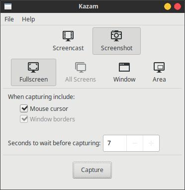 kazam screencaster screenshot menu