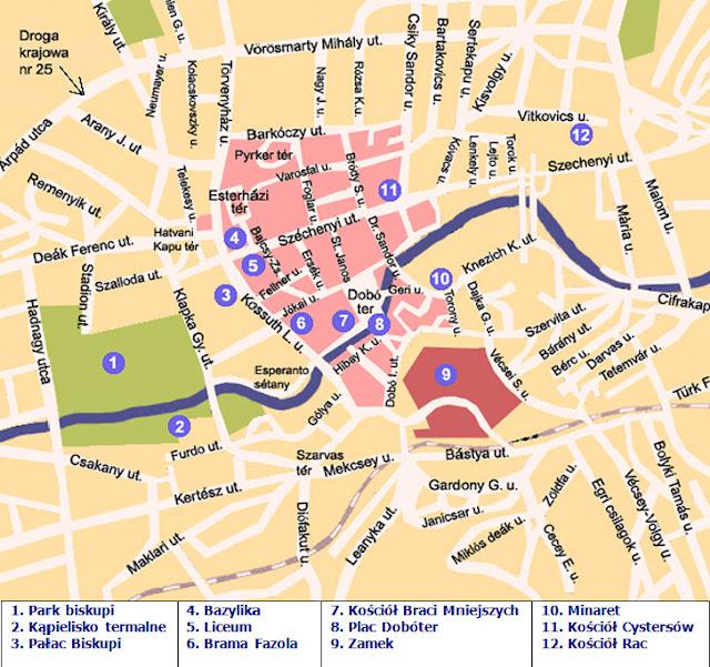 Mapa Atrakcji Turystycznych Egeru na Węgrzech i Okolic