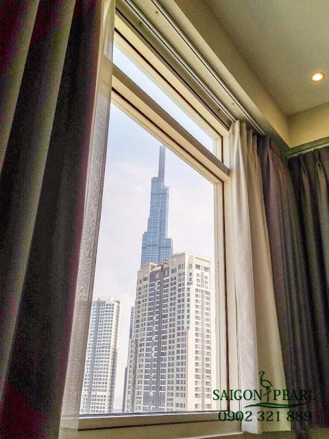 Phòng ngủ căn hộ Saigon Pearl view tòa Landmark 81