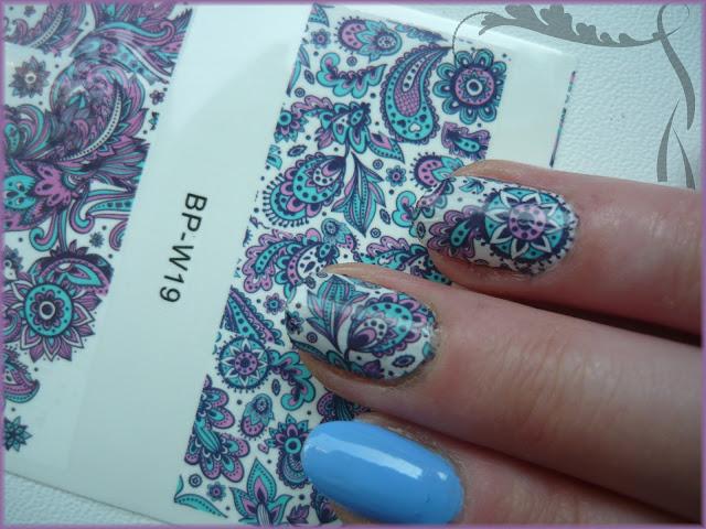 Wodne naklejki BPS BP-W19 oraz MySecret Nail Art 272 silver sparks
