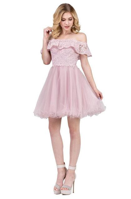 DANCING QUEEN - 3016 RUFFLED OFF-SHOULDER A-LINE HOMECOMING DRESS