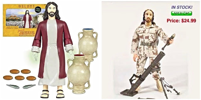 Jesus action figures. Deluxe miracle action figure with glow in the dark hands. Water to wine,  fishes and loaves. Enduring Freedom Jesus doll with rocket launcher for ages 4 and up. Caesar's Birth Certificate. marchmatron.com