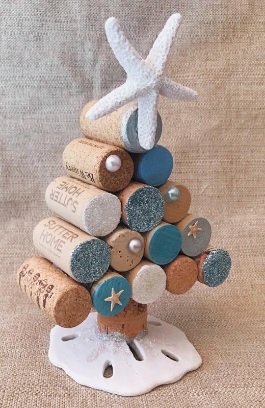 Beachy Wine Cork Mini Christmas Tree Idea
