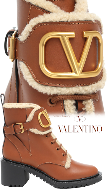 Brown Valentino Garavani VLOGO leather and shearling ankle boots #brilliantluxury