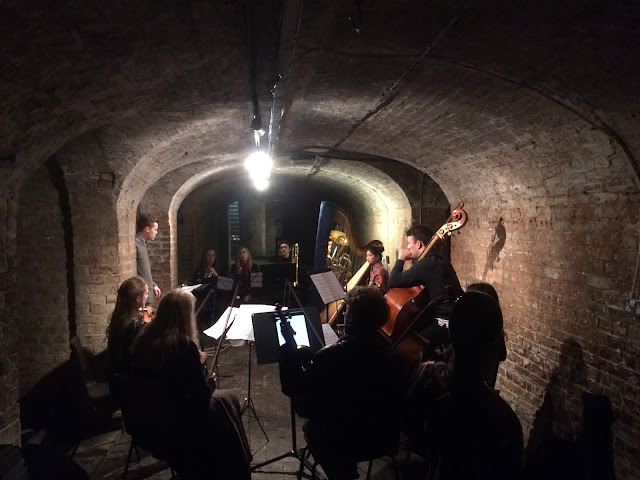 412 Collective Rehearsing Alex Hills' 'Short Long Shrink Stretch' in St.Pancras Church Crypt