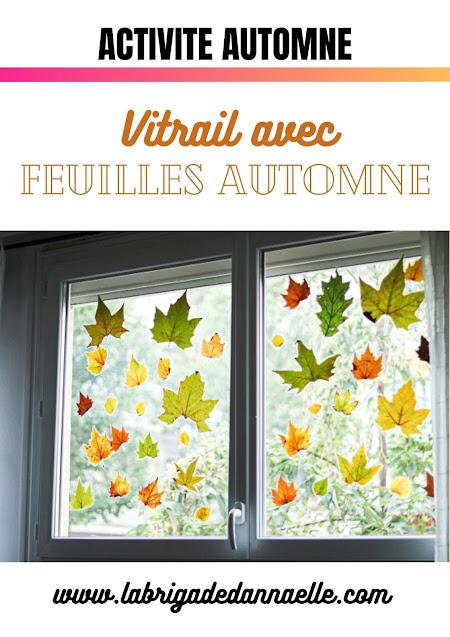 vitrail automne avec feuilles