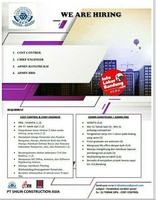 Lowongan Kerja PT. Shilin Construction Asia Bandung Agustus 2021