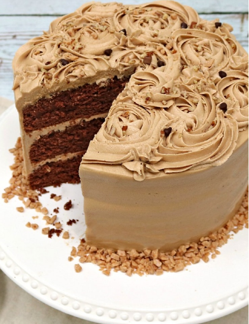 Mocha Toffee Crunch Cake - If you are a fan of the flavor combination of chocolate and coffee, you are going to fall in love with this amazing Mocha Toffee Cake recipe! This cake consists of rich chocolate cake layers topped in pecans and toffee, and frosted with a thick and flavorful layer of Mocha Buttercream Frosting!