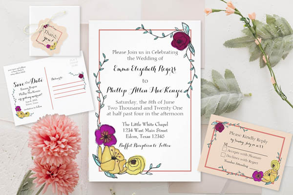 whimsical coral, stripes, and hand painted floral wedding suite