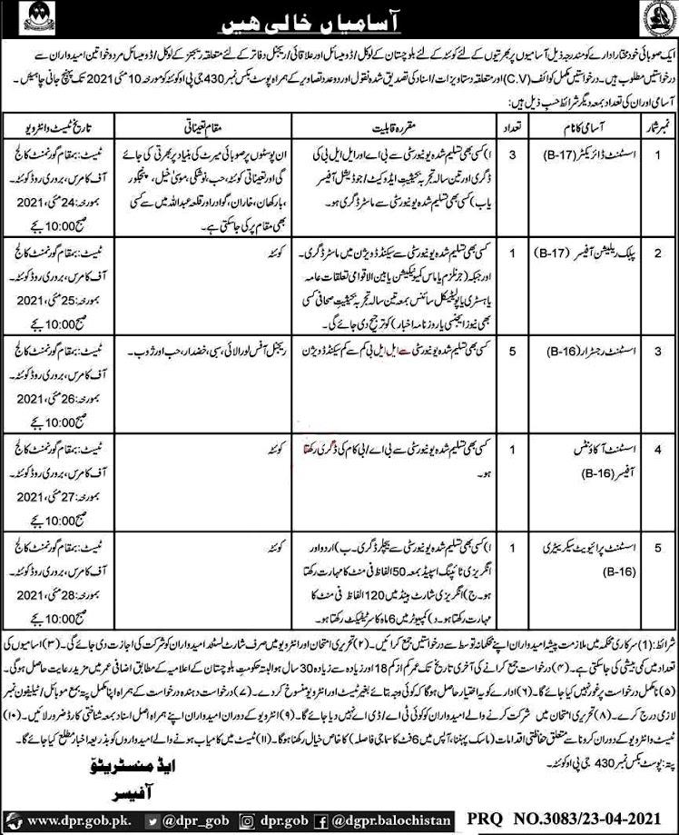 P.O Box  N0 430 Quetta GPO Public Sector New Jobs 2021