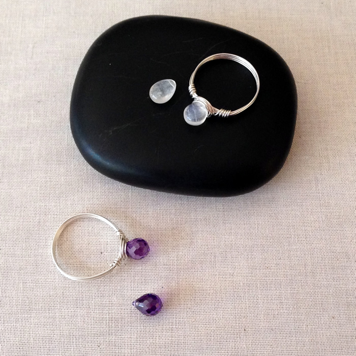 DIY wire wrapped gemstone ring - uses a top drilled briolette instead of regular bead! great for stacking!
