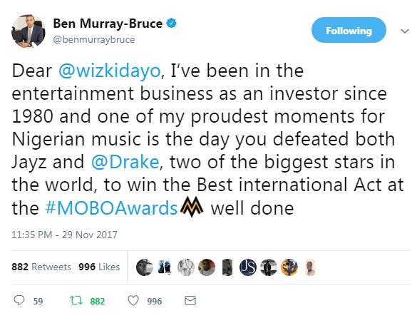 wp 1512036069371 - ENTERTAINMENT: Ben Bruce Applauds Wizkid For His Win At The MOBO Awards