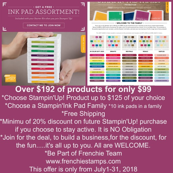 Stampin'Up! product Free shipping, Frenchie Team, Discount on Stamping product,