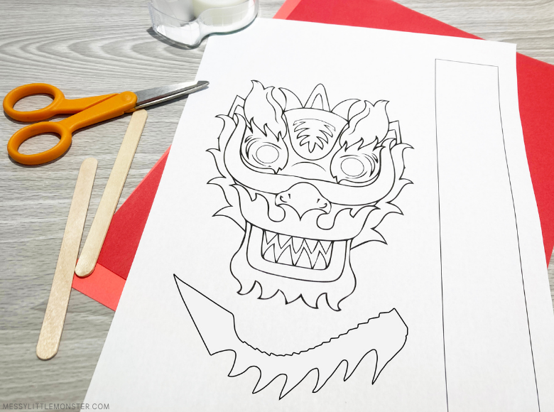 printable dragon puppet template