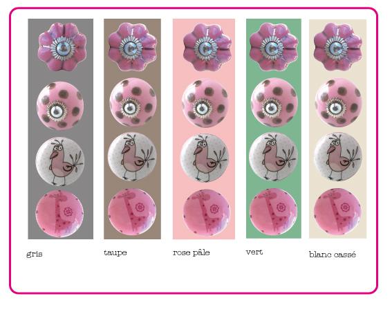 boutons de meubles rose, bouton rose, bouton de meuble rose, bouton de meuble enfant