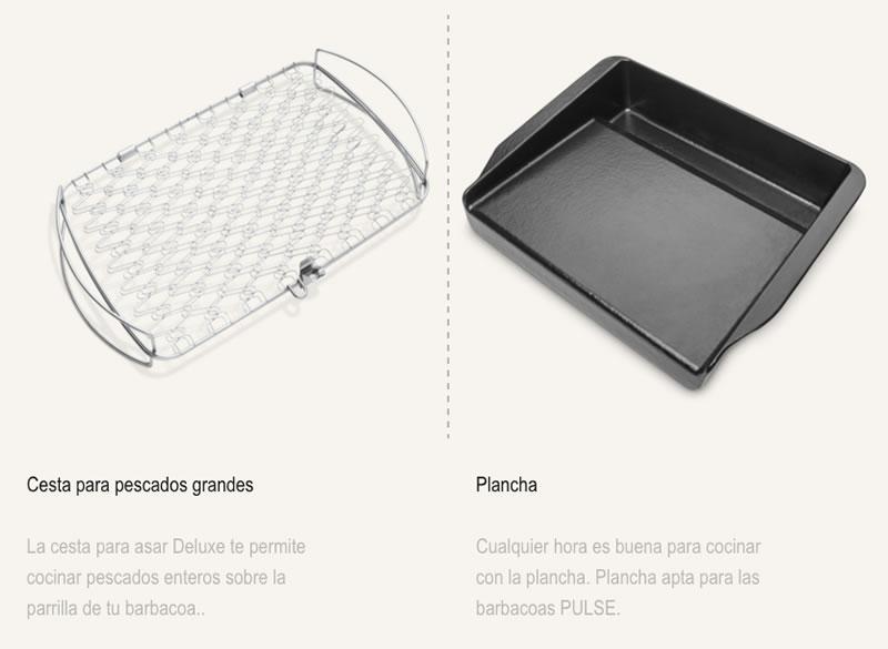 Compra cestas Weber para pescados grandes y planchas weber en tiendas Espool Piscinas