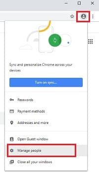 Removing sync account from google chrome