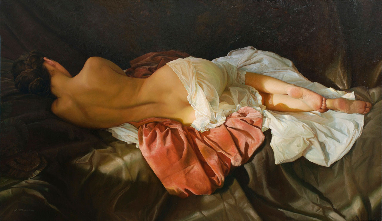 Hyperrealistic Oil Paintings of Women in Sheets by Artist Serge Marshennikov