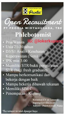 Lowongan Kerja Prodia Widyahusada Kupang Sebagai Phlebotomist