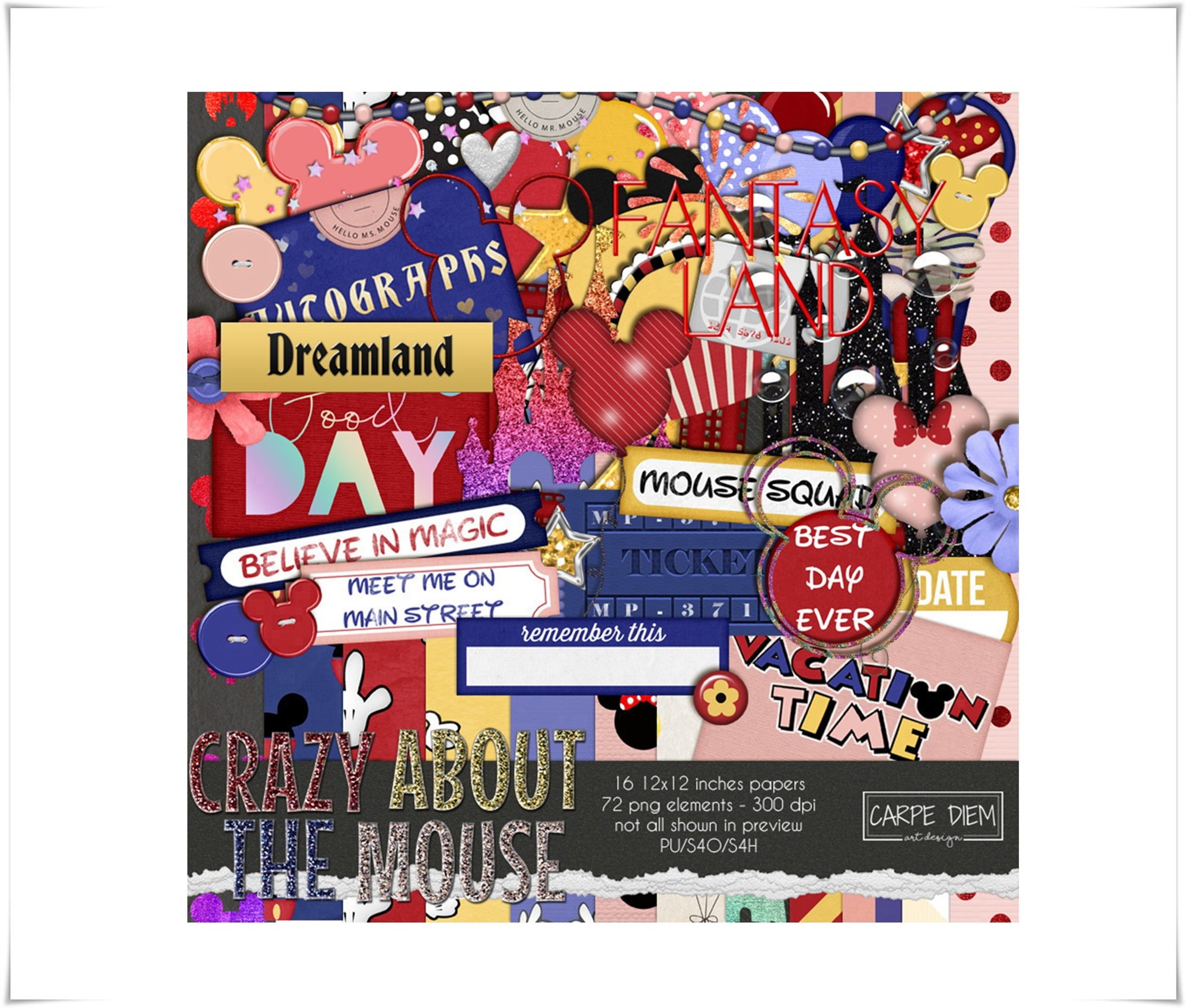 Crazy about the Mouse Digital Scrapbook kit