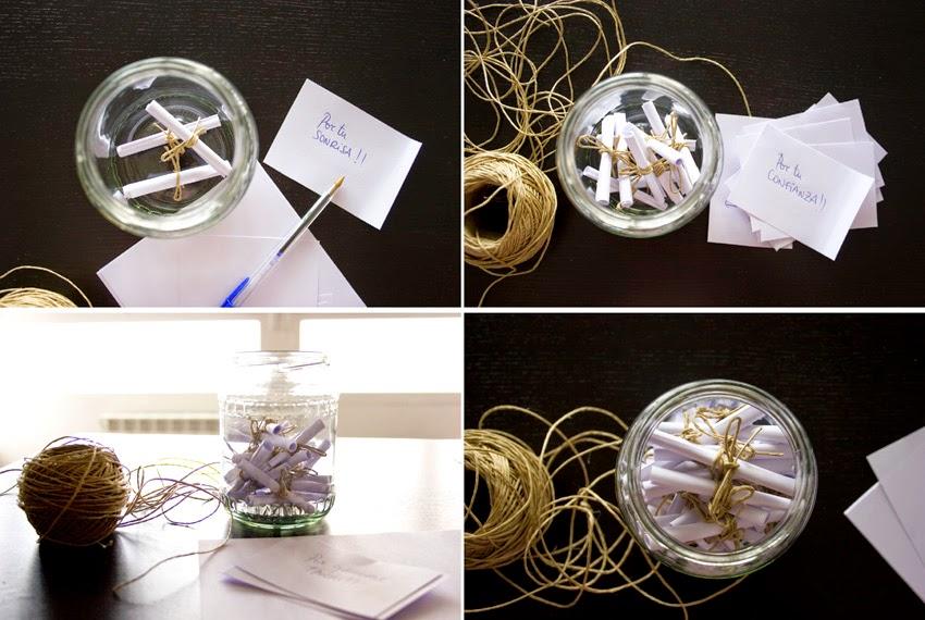 Regalo handmade para San Valentín hecho con bote de cristal y mensajes5