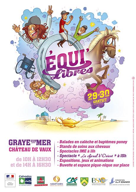 Création d'une affiche de communication et illustration pour une manifestation permettant la rencontre des personnes handicapées et les chevaux