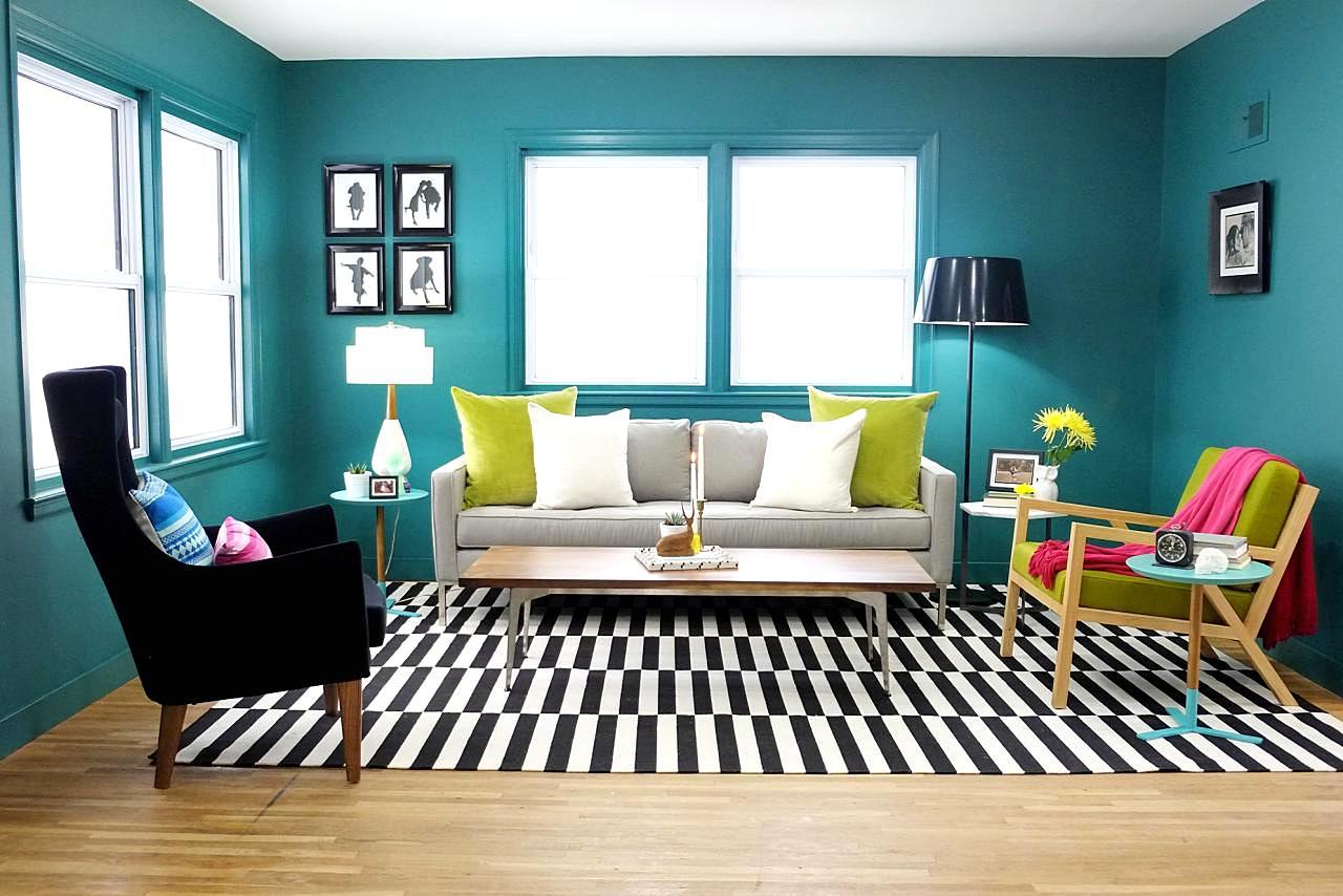 Gambar hiasan ruang tamu tema turquoise CikguNorazimah