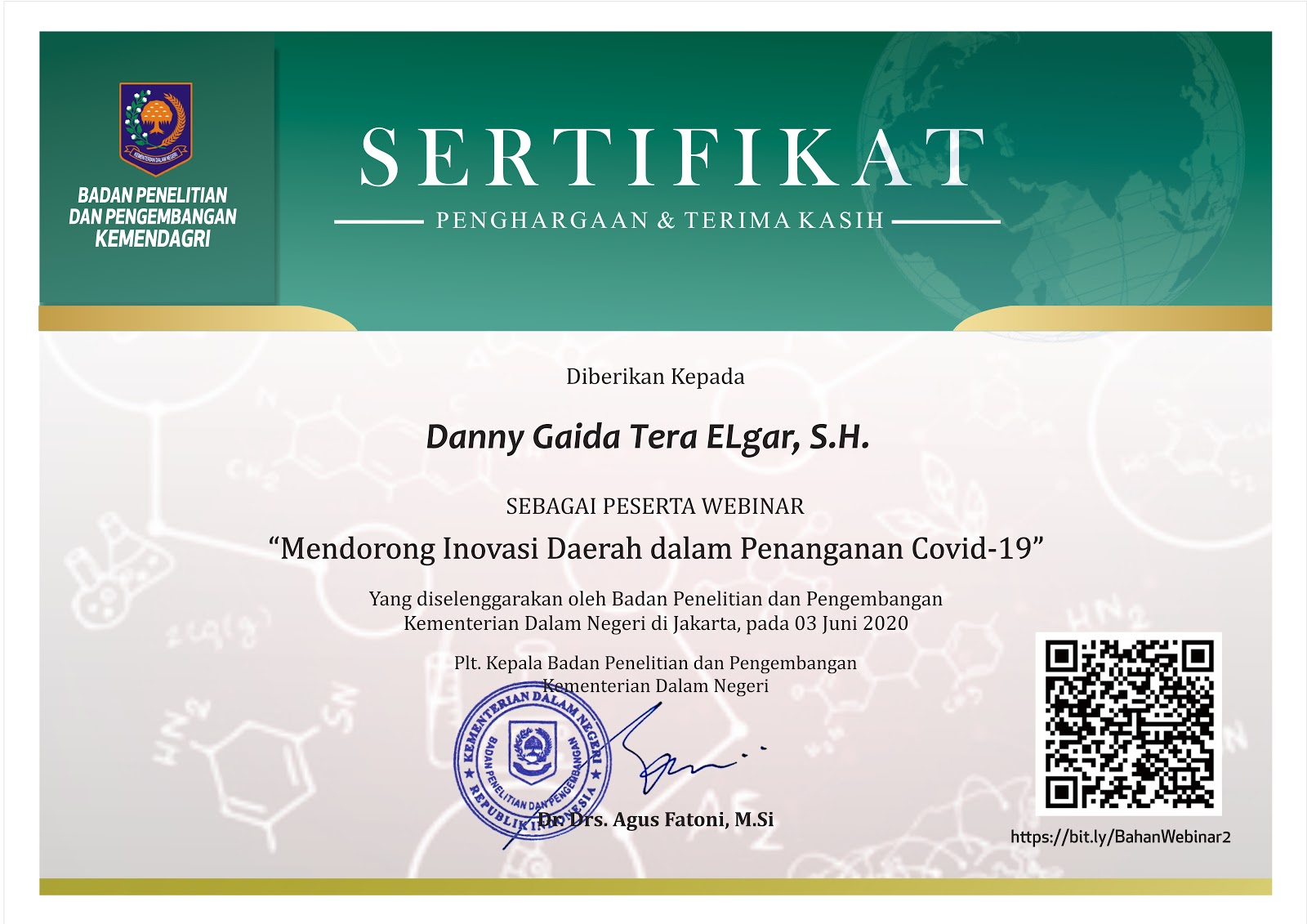 "Sertifikat Penghargaan Badan Penelitian dan Pengembangan Kementerian Dalam Negeri Republik Indonesia (Kemendagri RI) ""Mendorong Inovasi Daerah dalam Penanganan Covid-19"""