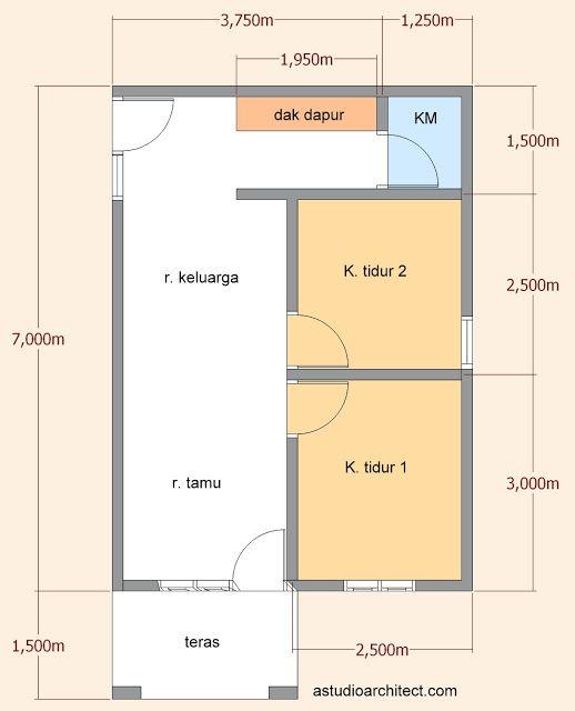 Sketsa Desain Rumah Petak 2 Kamar Tidur dengan Teras dan Ruang Tamu