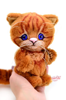 Artist teddy kitten, ooak cat, Natalie Lachnitt, котенок тедди, авторская игрушка, Clemens Spieltiere, handmade kitten, NatalKa Creations, teddies with charm, Teddy Katze, Teddy Kater, red kitten, buy teddy kitten, Teddy Katze kaufen
