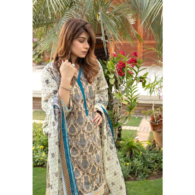 Gul Ahmed unstitched suit yellow color