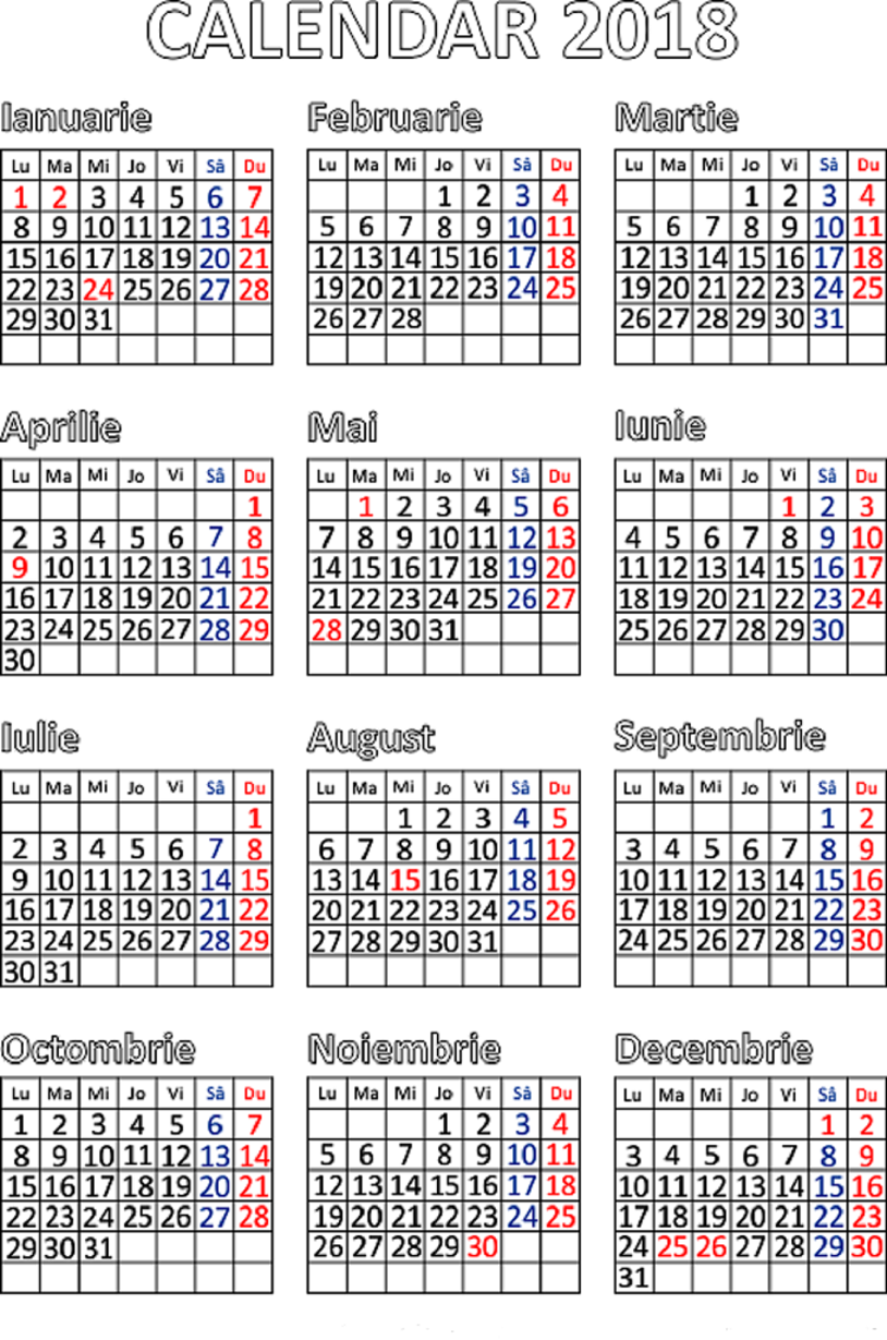Calendar Zile Lucratoare : Zile libere legale in anul retete culinare