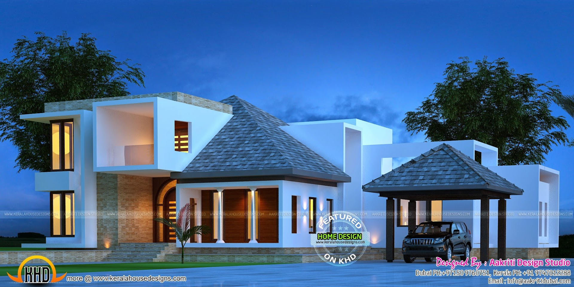 Awesome modern villa kerala home design and floor plans for Awesome modern houses